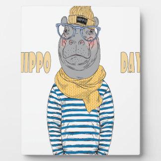 Le quinzième février - jour d'hippopotame - jour plaque d'affichage