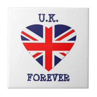 Le R-U - pour toujours ! - Coeur d'Union Jack Petit Carreau Carré
