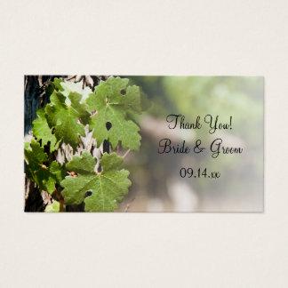 Le raisin laisse des étiquettes de faveur de cartes de visite