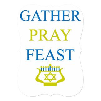 Le rassemblement prient le festin Hanoukka Carton D'invitation 12,7 Cm X 17,78 Cm