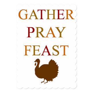 Le rassemblement prient le thanksgiving de festin carton d'invitation  12,7 cm x 17,78 cm