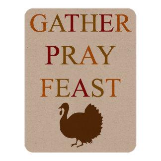 Le rassemblement prient le thanksgiving de festin carton d'invitation 10,79 cm x 13,97 cm