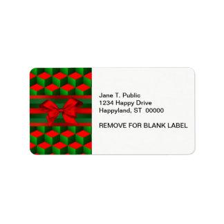 Le regard rouge 3D et vert cube Noël de ruban Étiquettes D'adresse