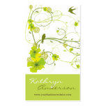 Le remous floral de ketmie verte élégante avale modèle de carte de visite