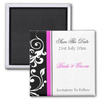 Le remous noir et blanc avec des roses indien font magnet carré