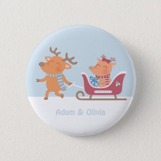 Le renne mignon tire le bouton de Noël de Sleigh Badge