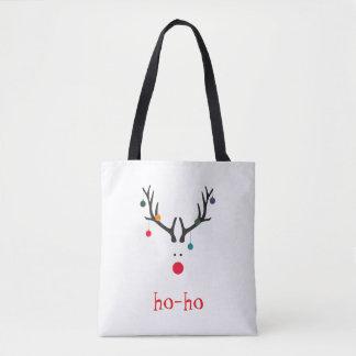 Le renne minimaliste mignon drôle de Père Noël sur Tote Bag