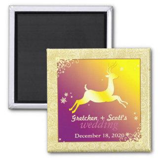 Le renne, remous, flocons de neige sauvent le magn aimants pour réfrigérateur