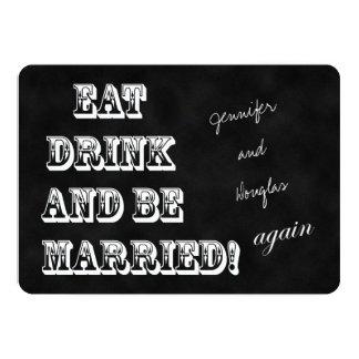 Le renouvellement de voeu mangent la boisson et carton d'invitation  12,7 cm x 17,78 cm