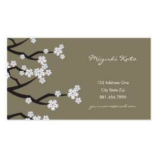 Le ressort blanc de Sakura de fleurs de cerisier f Modèles De Cartes De Visite