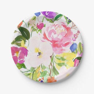 Le ressort coloré d'aquarelle fleurit floral assiettes en papier