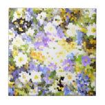 Le ressort en verre souillé fleurit le vert violet carreaux