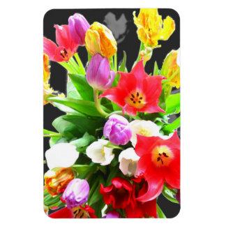 Le ressort fleurit des tulipes magnets rectangulaire
