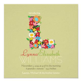 Le ressort fleurit la naissance de photo de bébé carton d'invitation  13,33 cm