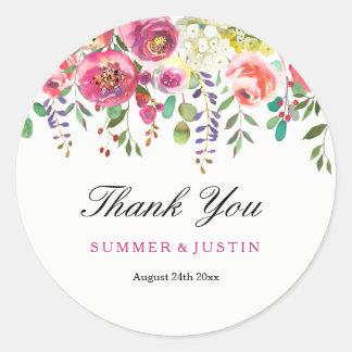 Le ressort fleurit le Merci rose de mariage de Sticker Rond
