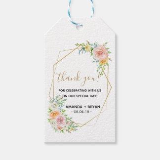 Le ressort floral rougissent étiquette de cadeau