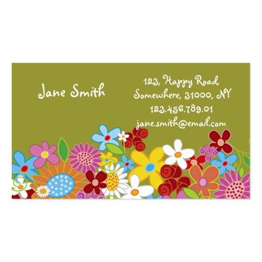 Le ressort lunatique doux fleurit le jardin coloré modèle de carte de visite