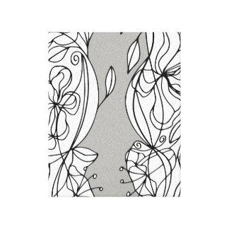 Le résumé noir et blanc raye l'art floral de mur toiles
