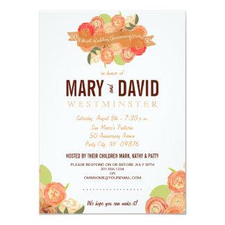 Le résumé romantique s'est levé la cinquantième carton d'invitation  11,43 cm x 15,87 cm