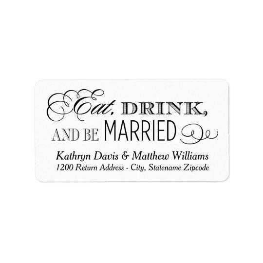 Le retour blanc   de mariage mangent la boisson et étiquette d'adresse