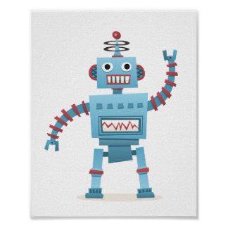 Le rétro androïde mignon de robot badine l'art de  poster