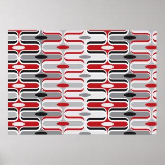 Le rétro art déco de mod zigzaguent noir rouge de