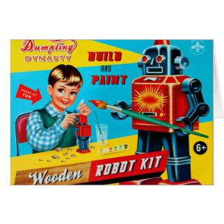 Le rétro kitsch vintage badine le kit en bois de carte de vœux