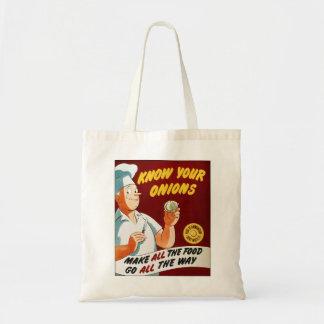 Le rétro kitsch vintage connaissent votre affiche  sacs en toile