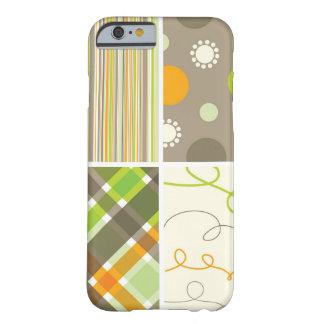 Le rétro motif vert orange de plaid pointille des coque iPhone 6 barely there