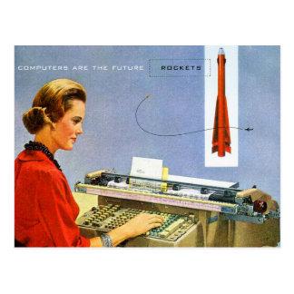 Le rétro ordinateur vintage de kitsch sont la carte postale