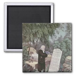 Le Rev. John Wesley visitant la tombe de sa mère Magnet Carré