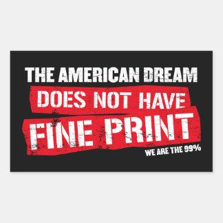 Le rêve américain n'a pas l'impression fine autocollants en rectangle