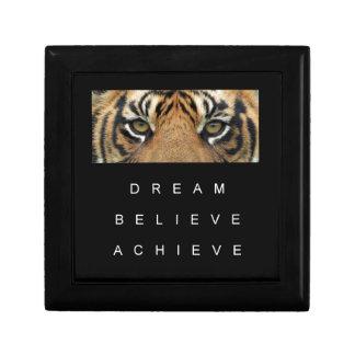 le rêve croient réalisent des yeux de tigre petite boîte à bijoux carrée