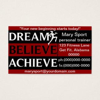 Le rêve croient réalisent l'entraîneur personnel cartes de visite