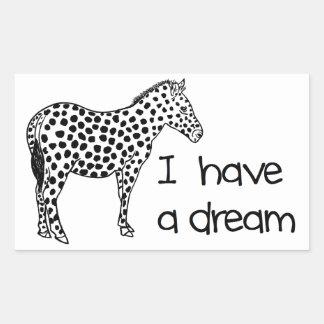 le rêve du zèbre sticker rectangulaire