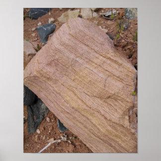 Le rocher de grès, érosion expose des couches poster