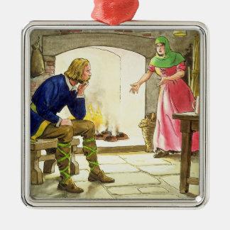 Le Roi Alfred (849-99) brûlant les gâteaux, du Ornement Carré Argenté