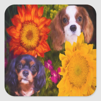 Le Roi cavalier Charles With Sunflowers Stickers