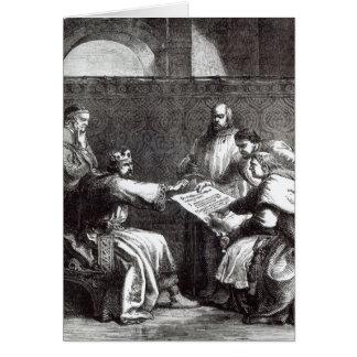 Le Roi John refusant de signer la charte de Magna Carte De Vœux