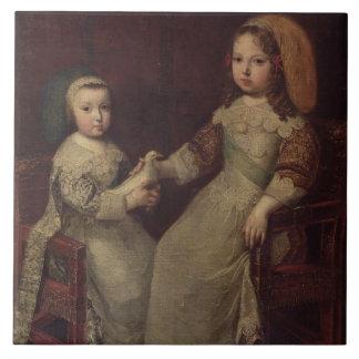 Le Roi Louis XIV (1638-1715) en tant qu'enfant ave Grand Carreau Carré