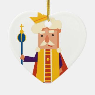 Le Roi personnage de dessin animé Ornement Cœur En Céramique