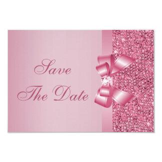 Le rose a imprimé l'arc de paillettes et les carton d'invitation 8,89 cm x 12,70 cm