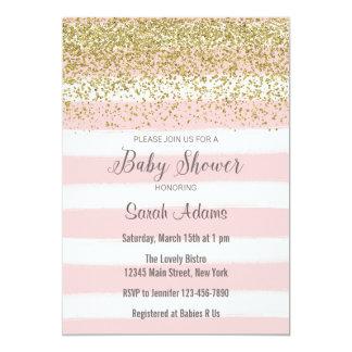 Le rose barre l'invitation de baby shower carton d'invitation  12,7 cm x 17,78 cm