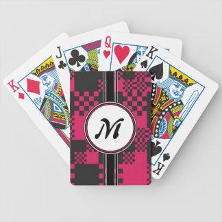 Le rose chic vintage cube le motif de monogramme jeu de cartes