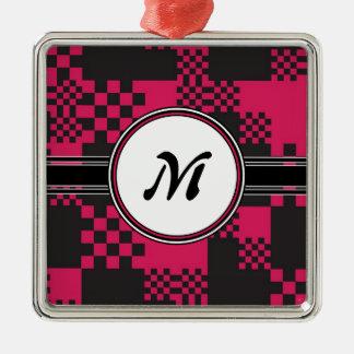 Le rose chic vintage cube le motif de monogramme ornement carré argenté