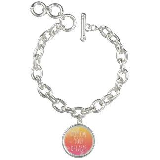 Le rose/citation inspirée orange suivent vos rêves bracelets