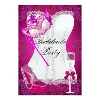 Le rose de corset de partie de Bachelorette Carton D'invitation 8,89 Cm X 12,70 Cm