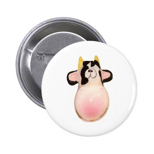 Le rose de vache sourit ridicule badges