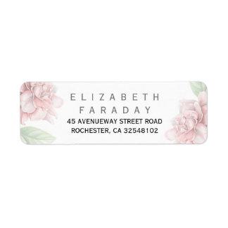 Le rose doux fleurit le mariage élégant de jardin étiquette d'adresse retour