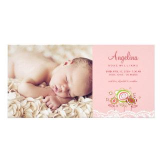 Le rose doux lunatique fleurit faire-part de bébé modèle pour photocarte